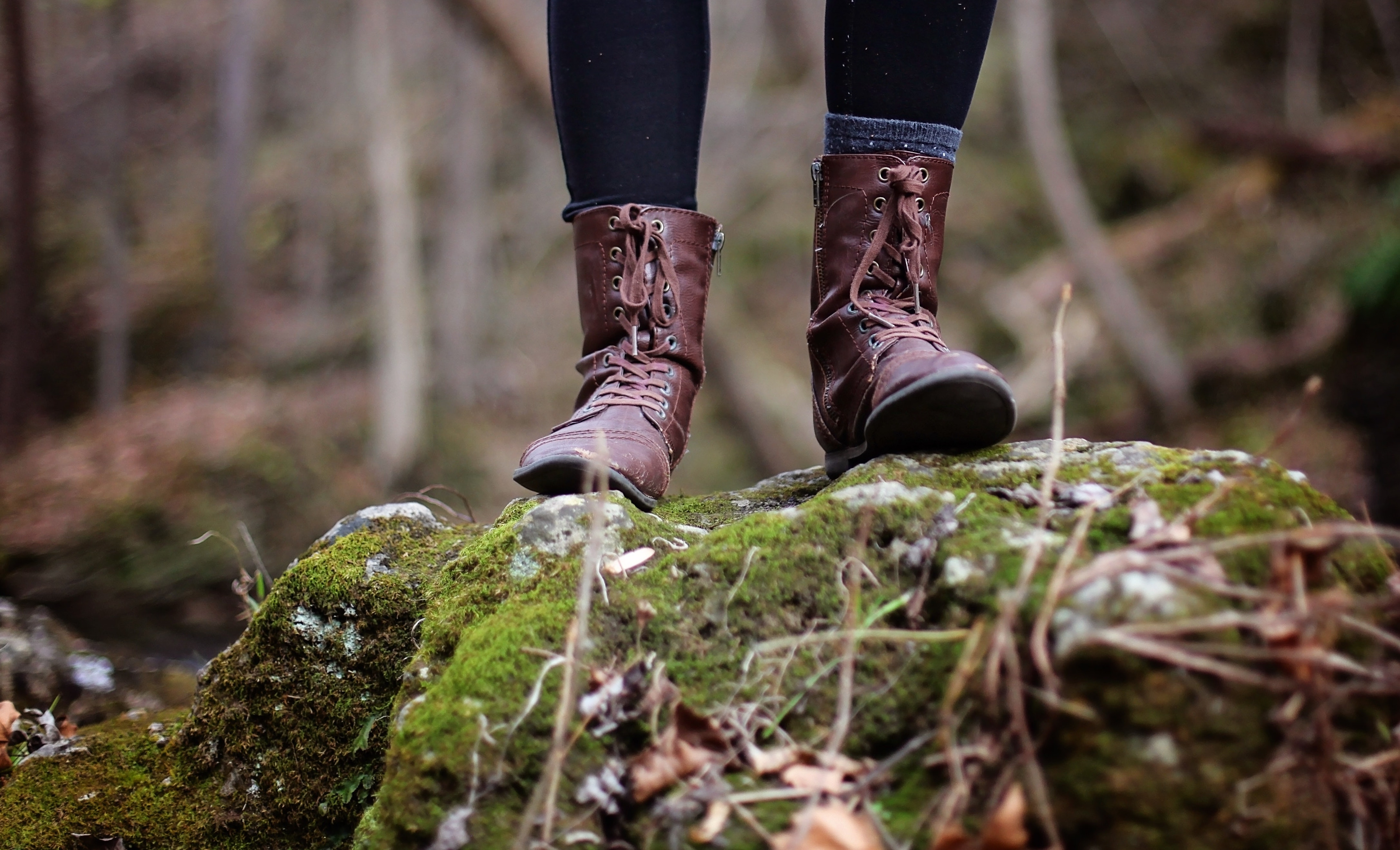 hiking boots in the woods