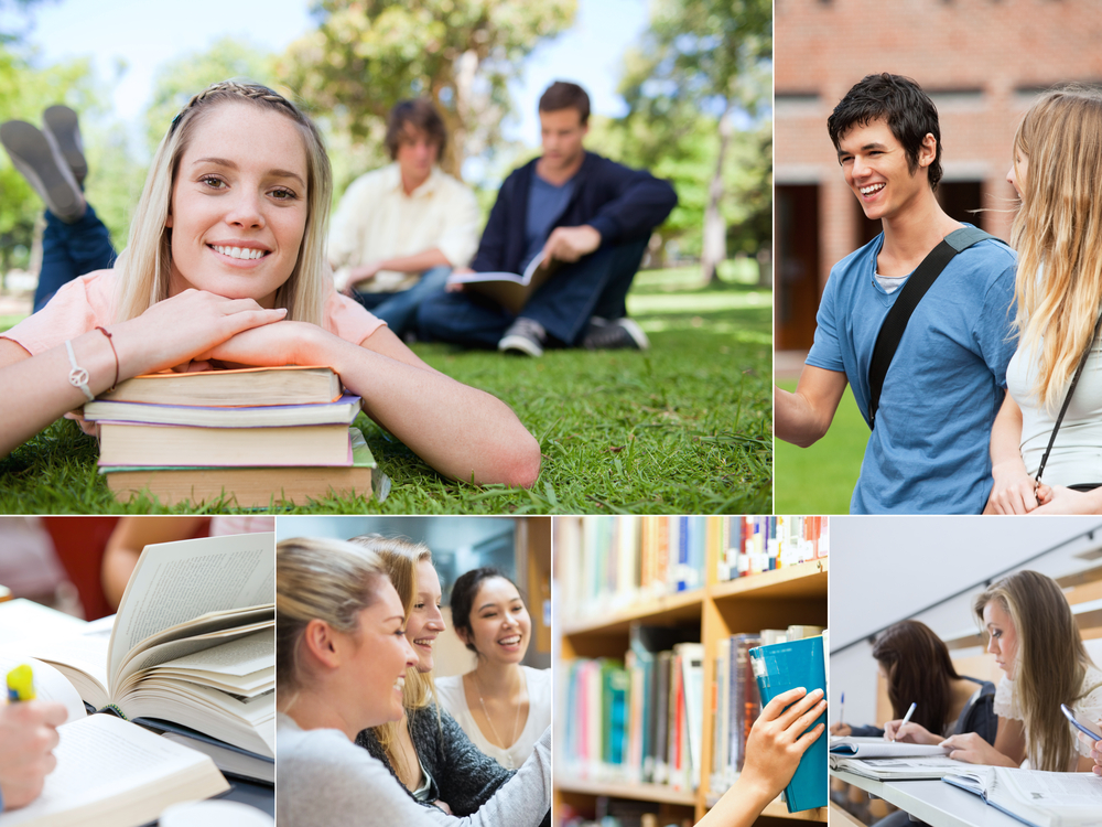 Collage of students at university