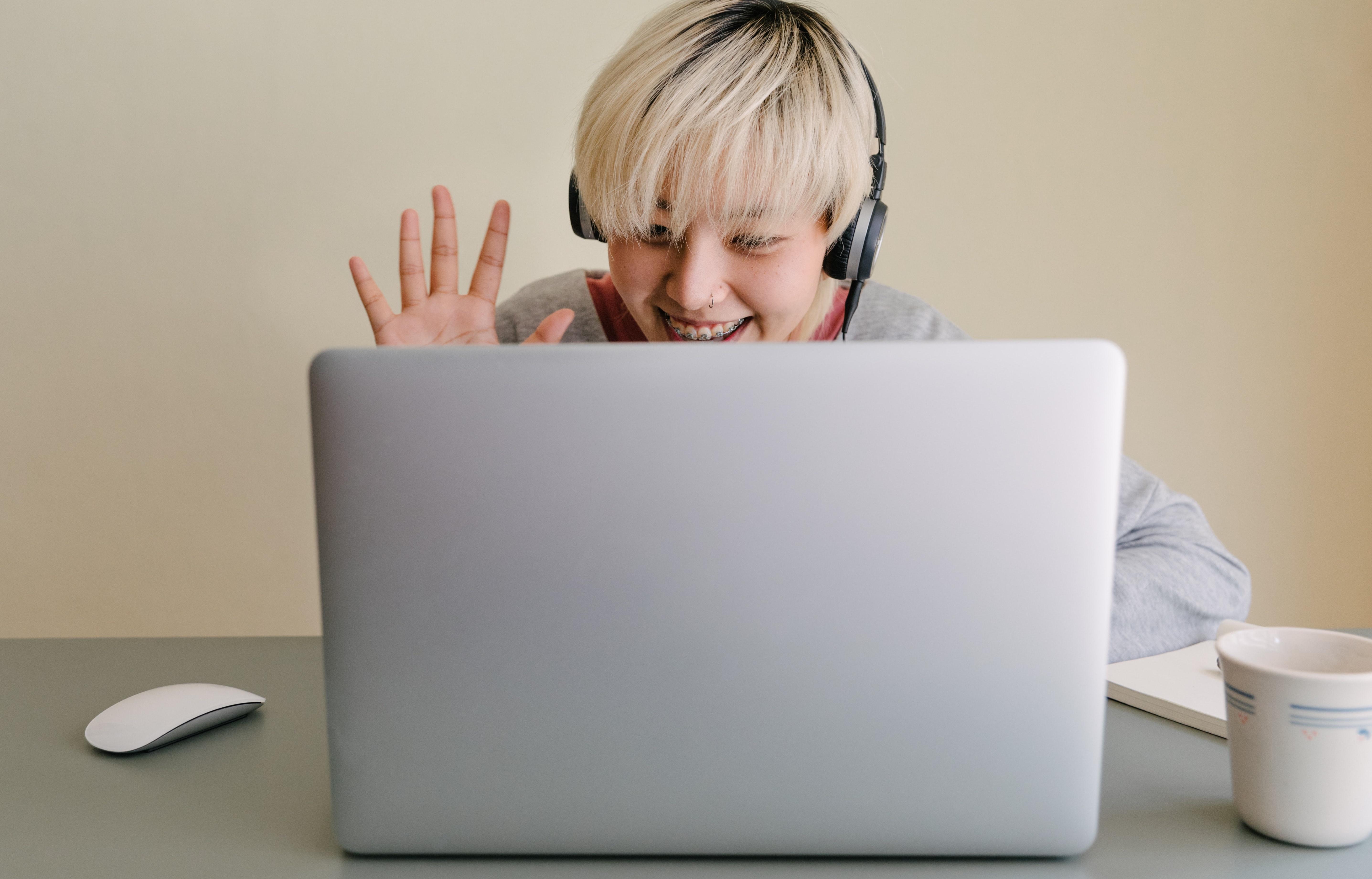 Waving at computer video call